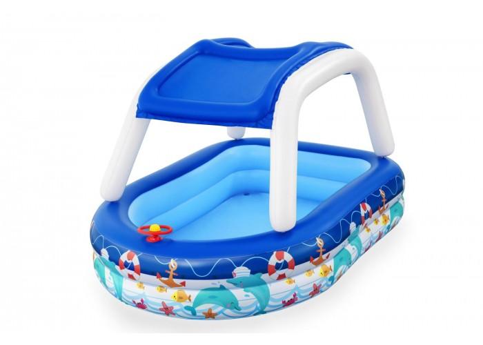 Детский надувной бассейн Bestway 54370 (213x155x132 см) с навесом от солнца