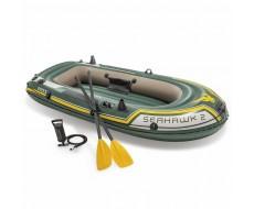 Надувная лодка Intex 68347 Seahawk-2 двухместная, 236 х 114 х 41 см + насос и 2 весла