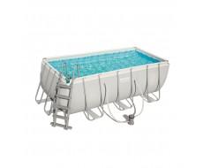 Каркасный прямоугольный бассейн Bestway 56456  412х201х122 см + фильтр-насос 2006 л/ч, лестница