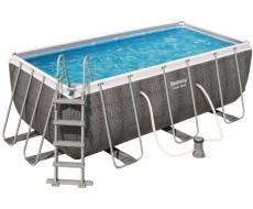 """Каркасный прямоугольный бассейн Bestway 56722 """"Ротанг"""" 412х201х122 см + фильтр-насос 2006 л/ч, лестница"""