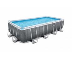 """Каркасный прямоугольный бассейн Bestway 56996 """"Ротанг"""" 488х244х122 см + фильтр-насос 3028 л/ч, тент, лестница"""